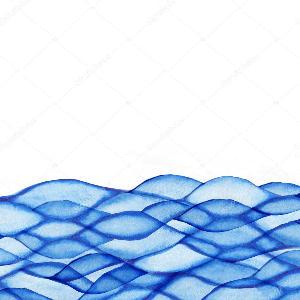 Watercolor waves, sea theme, blue maritime frame — Stock Photo ...