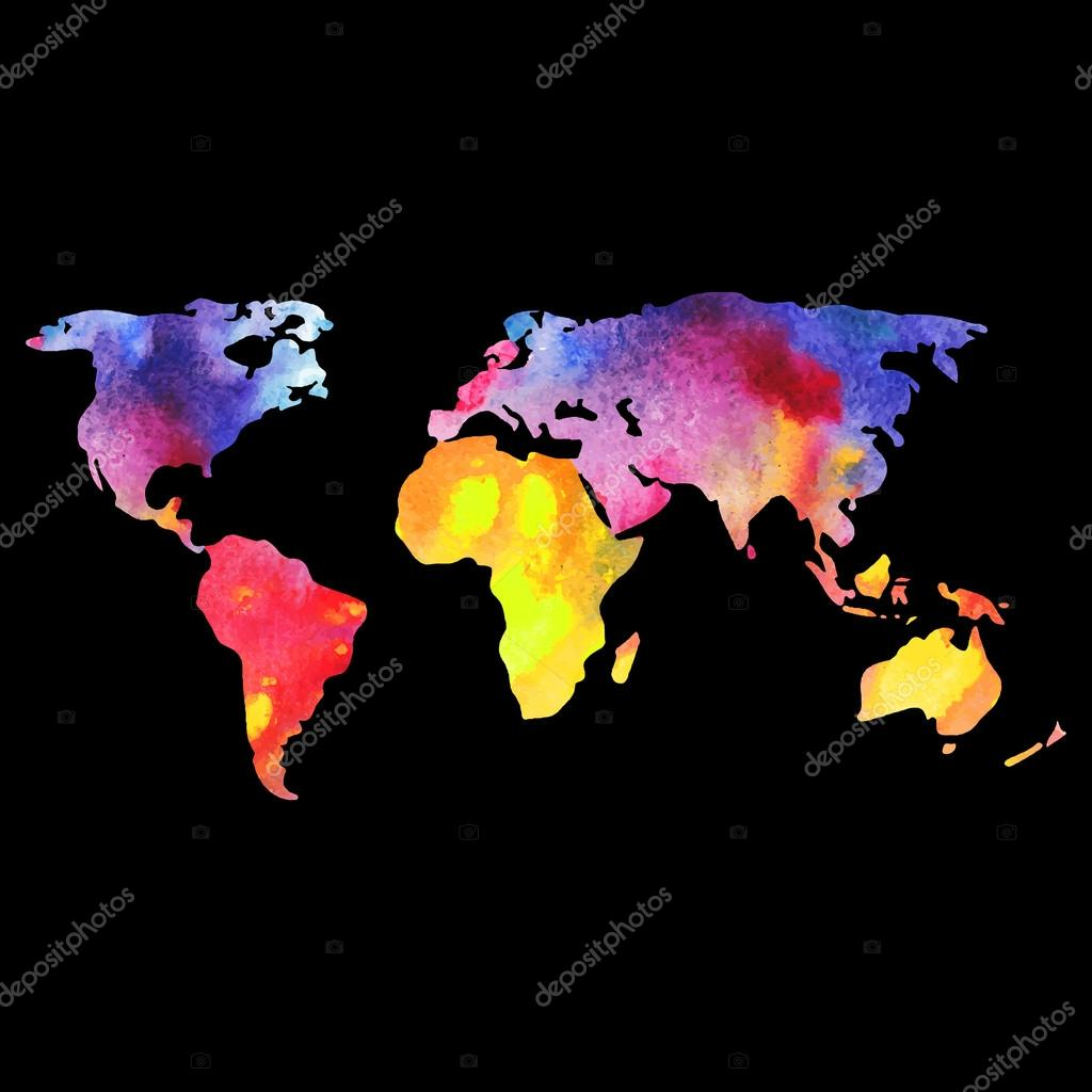 World vector map painted with watercolors painted world map on world vector map painted with watercolors painted world map on black background vector gumiabroncs Gallery