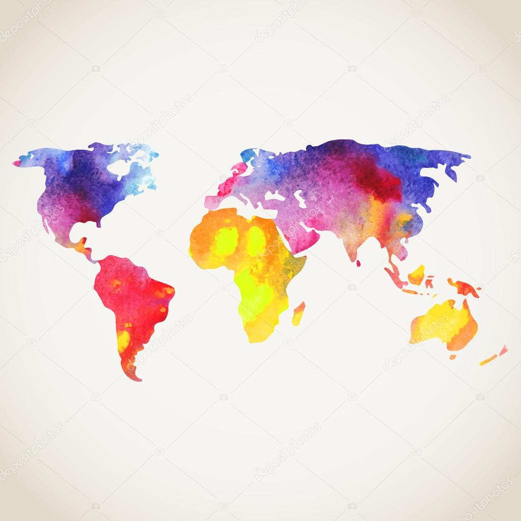 World vector map painted with watercolors painted world map on world vector map painted with watercolors painted world map on black background vector gumiabroncs Choice Image