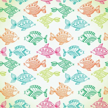 Fish pattern in abstract style. Copy square to the side and you'll get seamlessly tiling pattern which gives the resulting image ability to be repeated or tiled without visible seams. stock vector