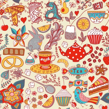 Tea,sweets seamless doodle pattern. Copy that square to the side and you'll get seamlessly tiling pattern which gives the resulting image the ability to be repeated or tiled without visible seams. stock vector