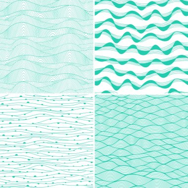Set of four seamless abstract hand-drawn pattern, waves background. Each square pattern has the ability to be repeated or tiled without visible seams. stock vector