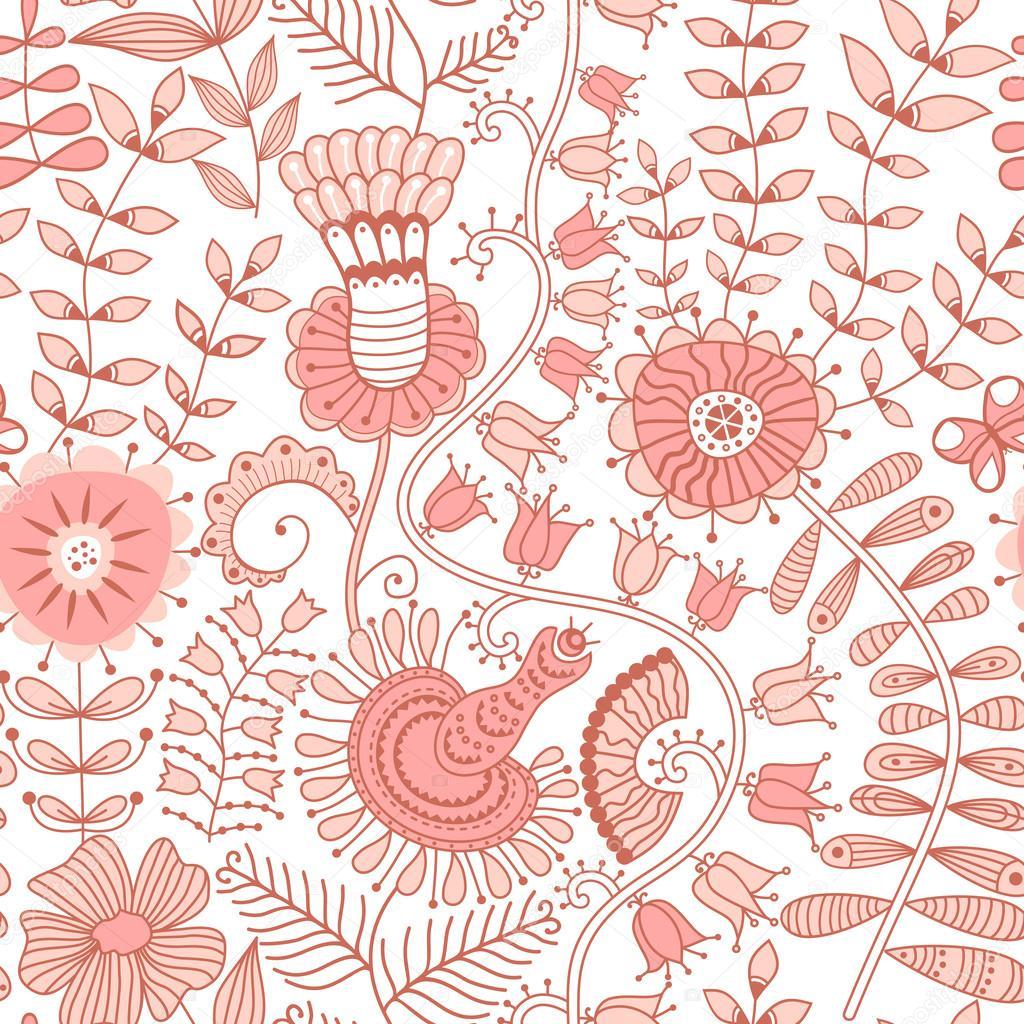 Texture Transparente Avec Les Fleurs Les Oiseaux Et Les Papillons