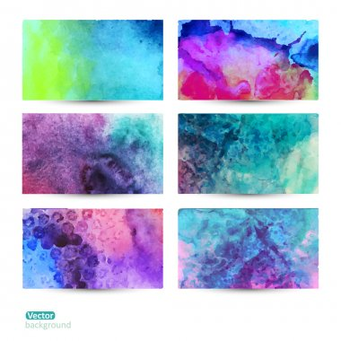 Vector set of six watercolor abstract hand drawn background,vect