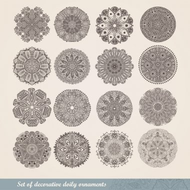 Vector Indian ornament, kaleidoscopic floral pattern, mandala. Set of sixteen ornament lace. ornamental round lace pattern, circle background with many details, looks like crocheting handmade lace