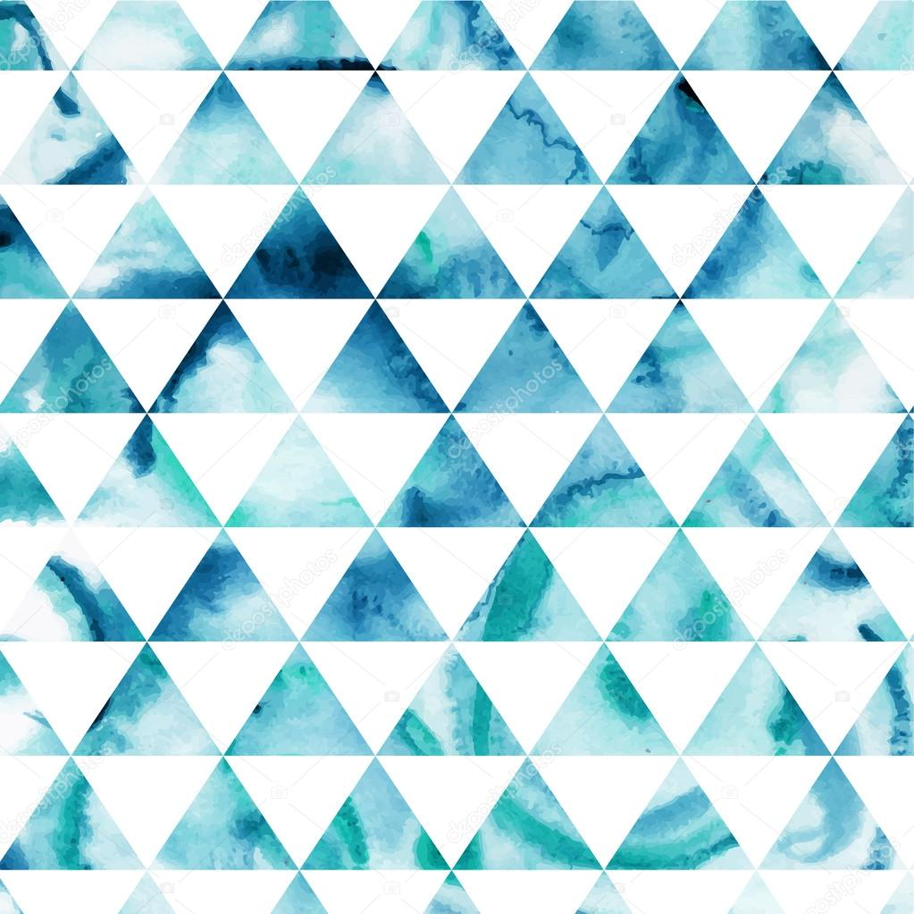 Vector watercolor triangles pattern. Modern hipster pattern. Col