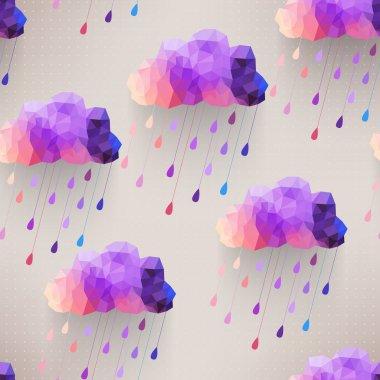 Retro cloud seamless pattern with rain symbol, hipster backgroun
