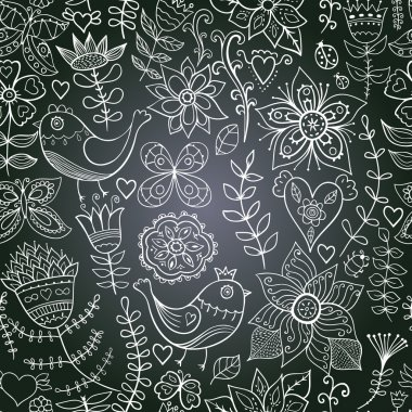 Vector chalkboard seamless floral pattern. Copy that square to t