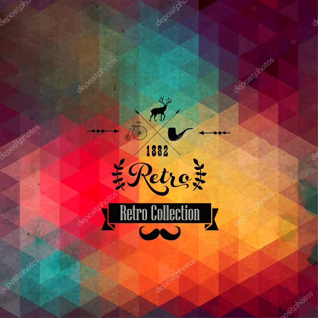 Vector retro supply on hipster background made of triangles. Ret