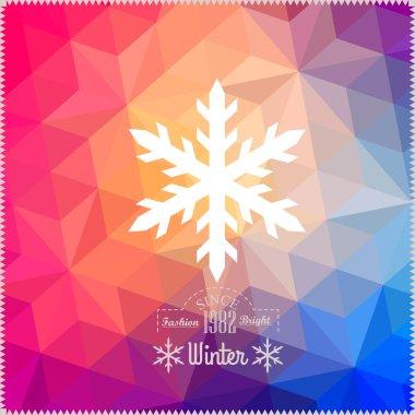 Vector snowflake. Abstract snowflake on geometric pattern. Snowf