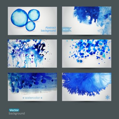 Vector abstract hand drawn set of six watercolor background,vect
