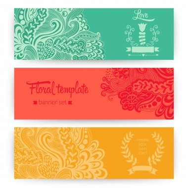 Vector stylish floral banners. Bright doodle cartoon cards in ve
