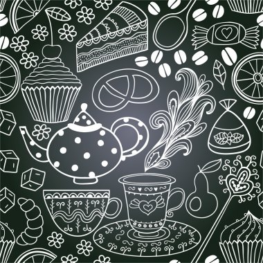 chalkboard seamless floral pattern. Copy that square to the side