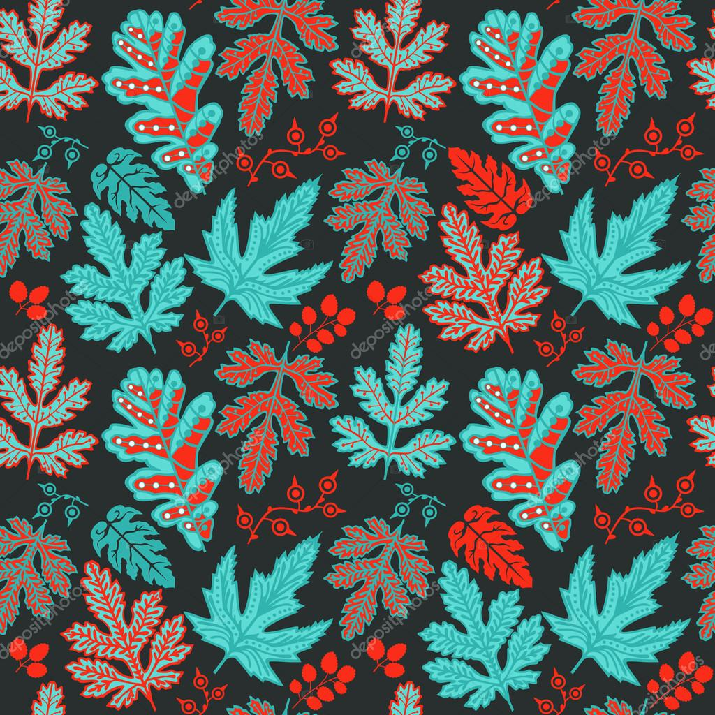 Seamless pattern on leaves theme, seamless pattern with leaf