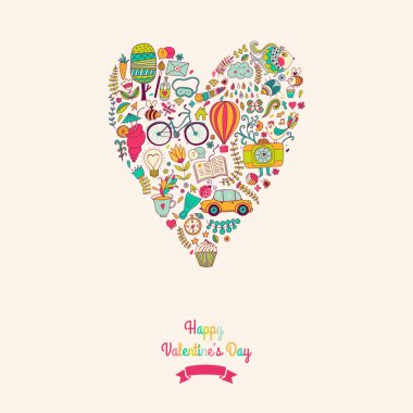 Vector doodles heart, valentine's day card. Kids, travel, enjoy