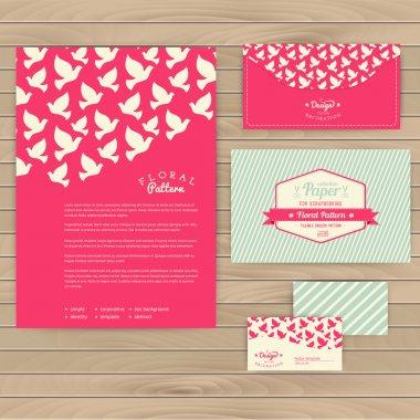 Set of floral vintage wedding cards on wood texture, invitations