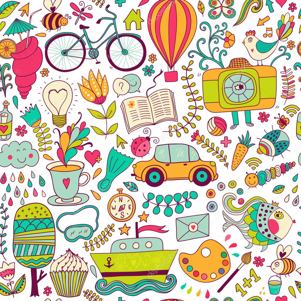 Vector Seamless Pattern Childish Doodles Pattern Set Of