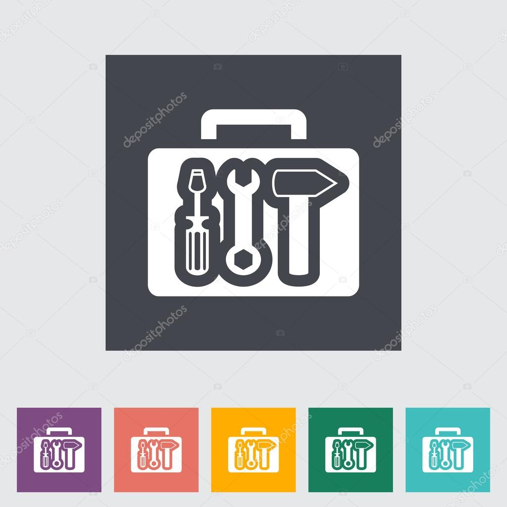 Tool box single flat icon.