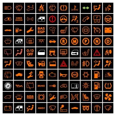Car Dashboard Icons. Vector illustration. clip art vector