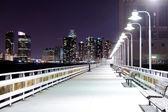 Fotografia ponte di notte con lanterne