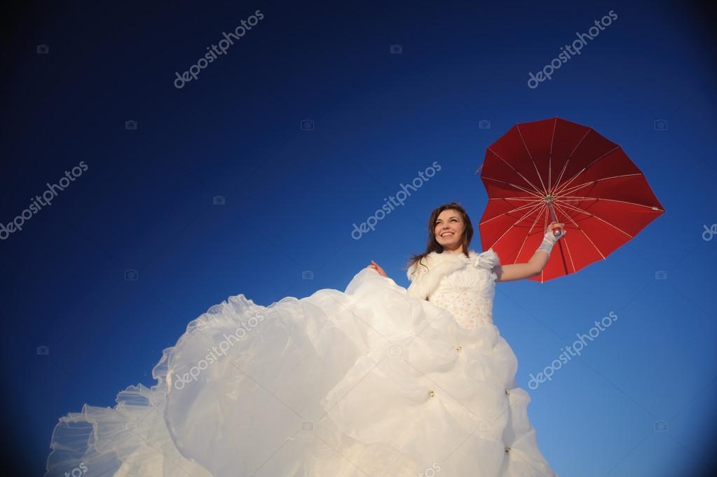 Woman posing in wedding dress