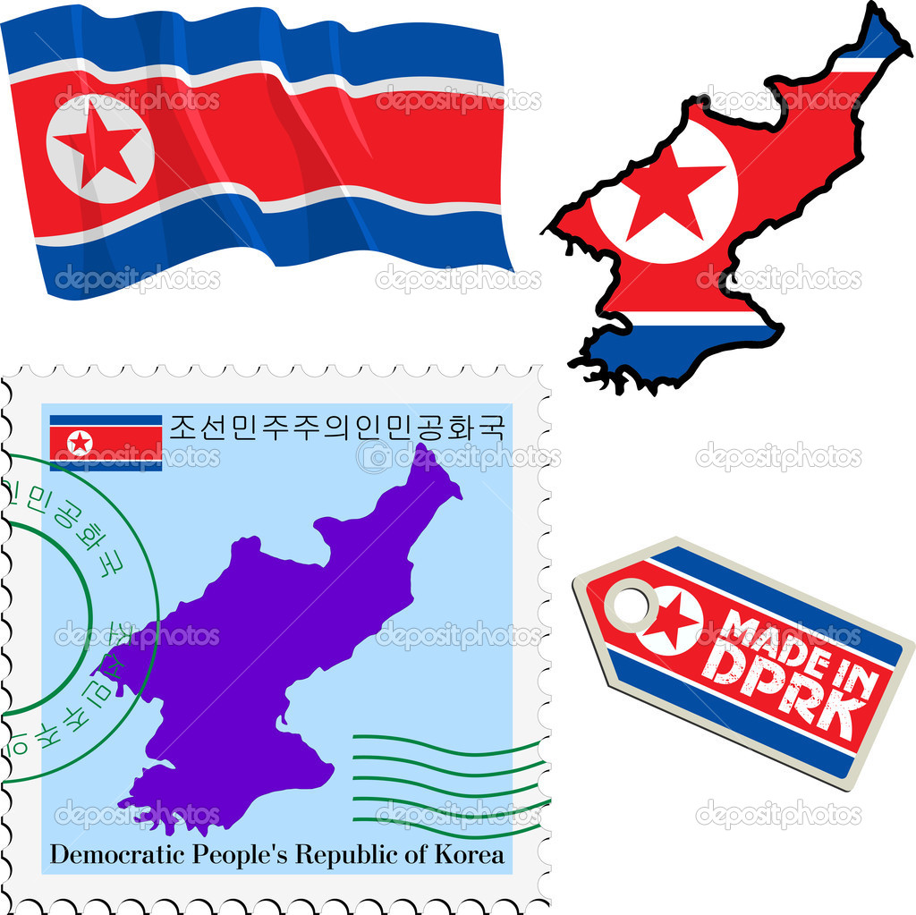 Set Of Different Symbols In National Colours Of North Korea Stock