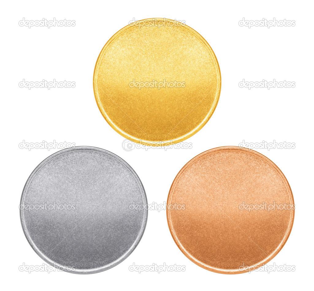 leere Vorlagen für Münzen oder Medaillen mit Metall Textur ...