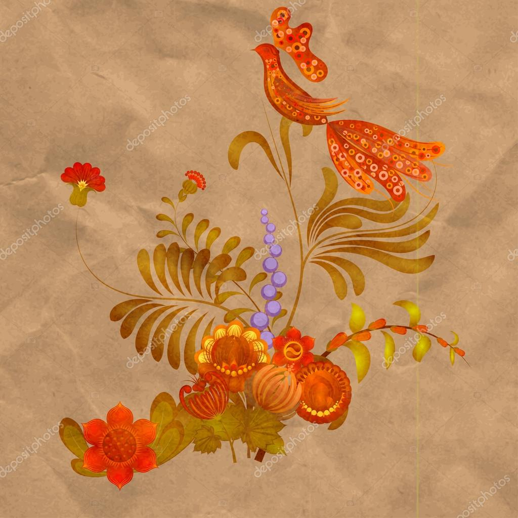 Petrikov painting. Floral ornament on old paper background. eps