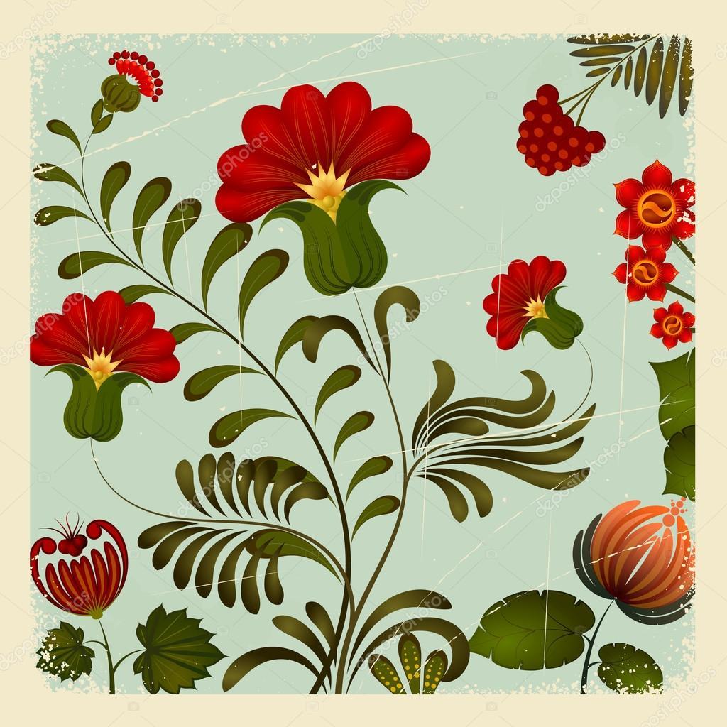 Petrikov painting. Ukrainian national floral ornament on vintage