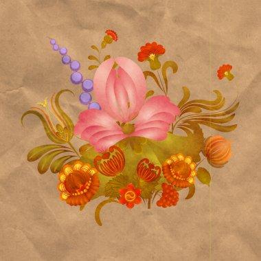 Petrikov painting. Vintage floral ornament on old paper. eps 10