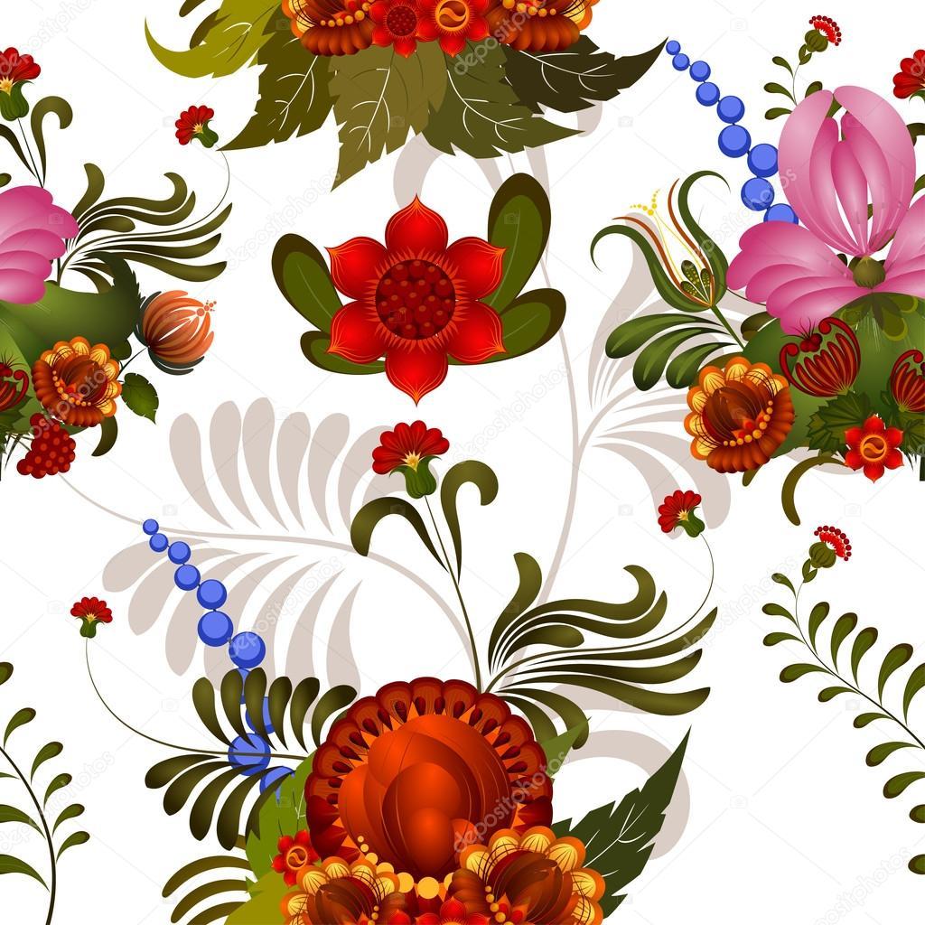 transparente motif floral avec des l ments de la peinture petrikovs image vectorielle. Black Bedroom Furniture Sets. Home Design Ideas