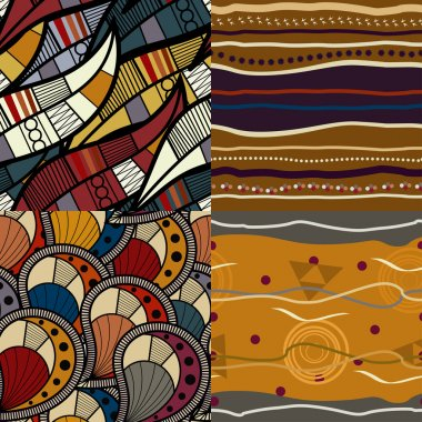 Set of African seamless patterns