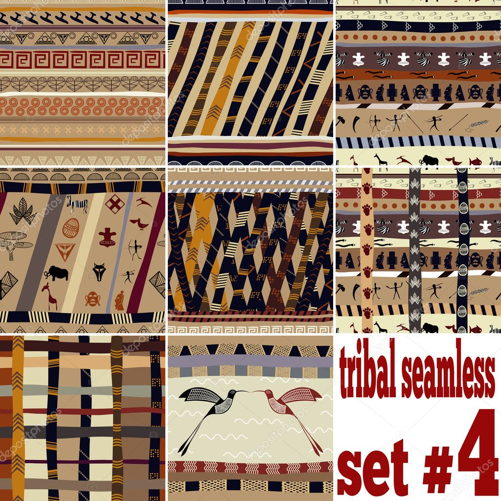 Seamless set of traditional patterns