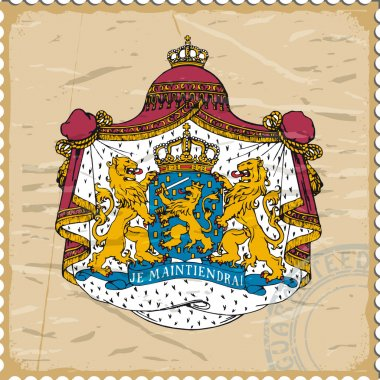 Coat of arms of Netherlands on the old postage stamp