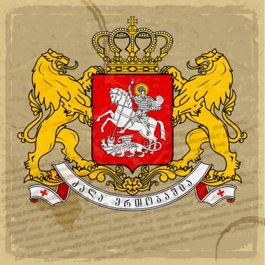 Coat of arms of Georgia on an old sheet of paper