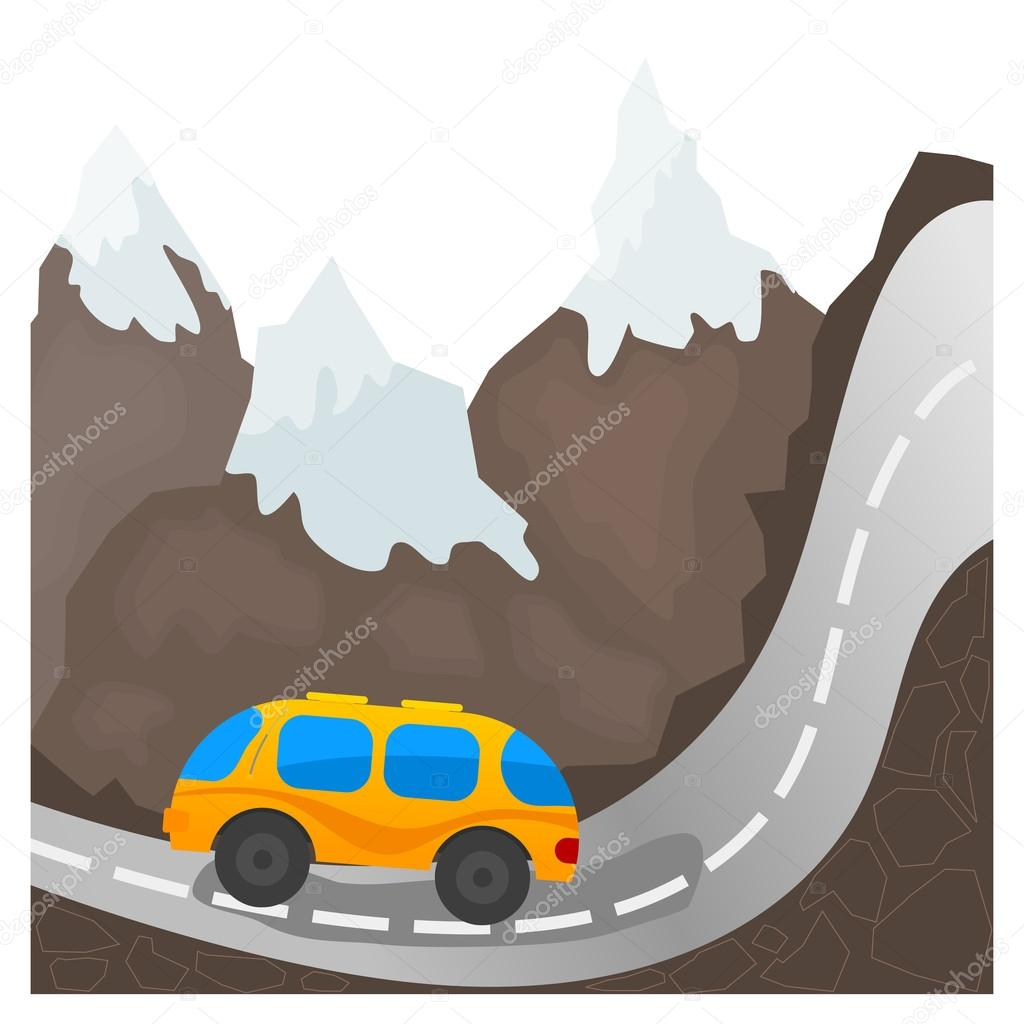 Cartoon bus on a mountain road