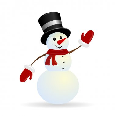 Jolly Christmas snowman on a white background