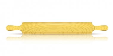 Vector Image of a traditional rolling pin with reflection