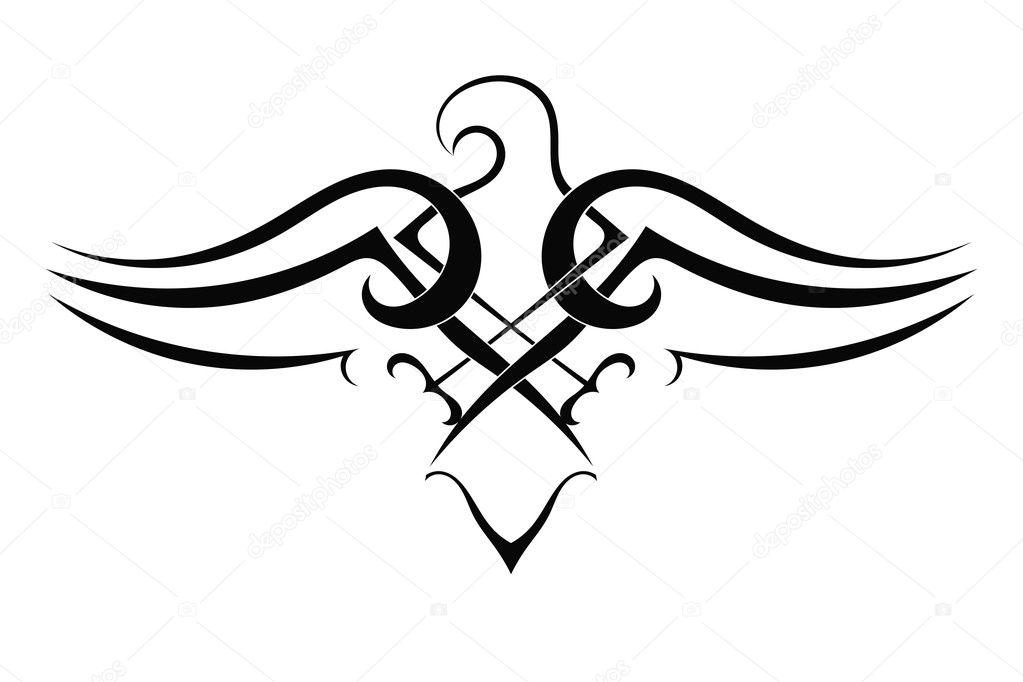 Tattoo eagle on white background