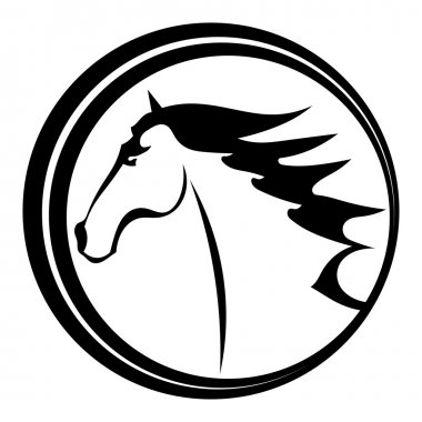 Horse tattoo character in a circle