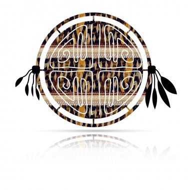 Abstract tambourine in ethnic style with shadow.