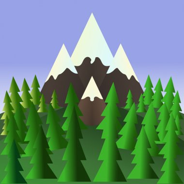 Landscape with pine trees and mountains. Stock Vector