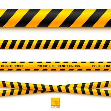 Police line tape and danger on a light background. Vector illust
