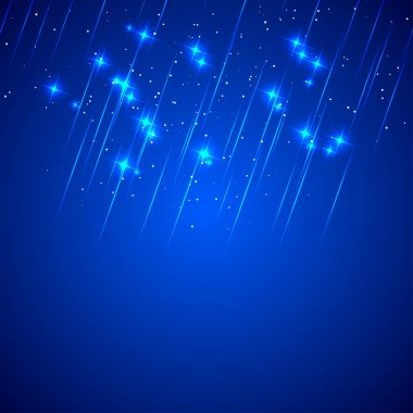 Abstract blue background with shooting stars. Fireworks. Vector