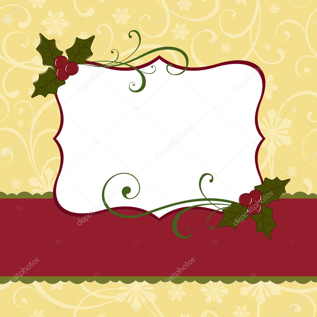 Cute Christmas Postcard Template Stock Vector Embosser - Christmas postcard template