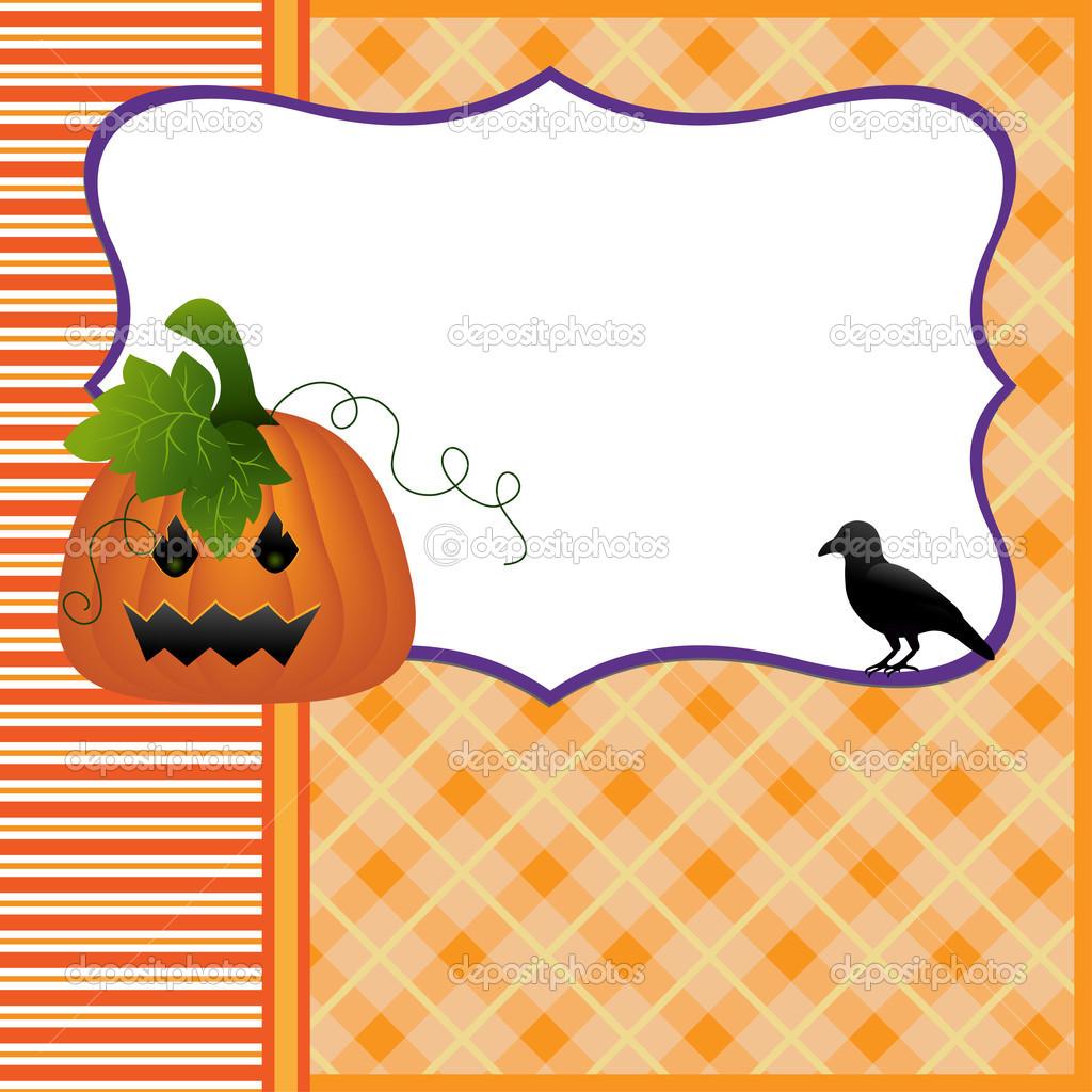 Blank template for Halloween pumpkin crow postcard — Stock Vector ...