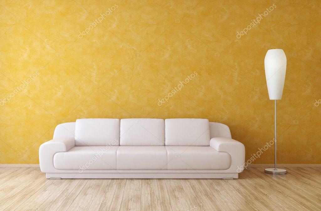 sofá blanco en una habitación interior con pared de estuco naranja ...