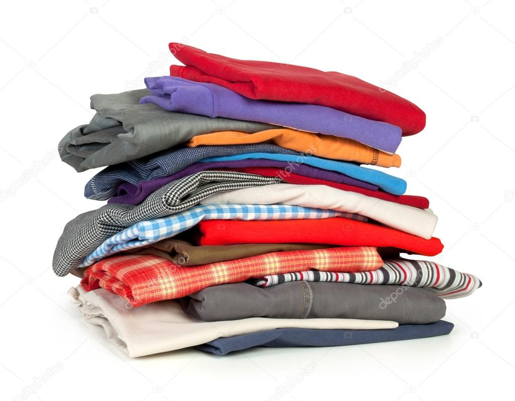 Stacks of colorfull clothes on white background — Stock ...