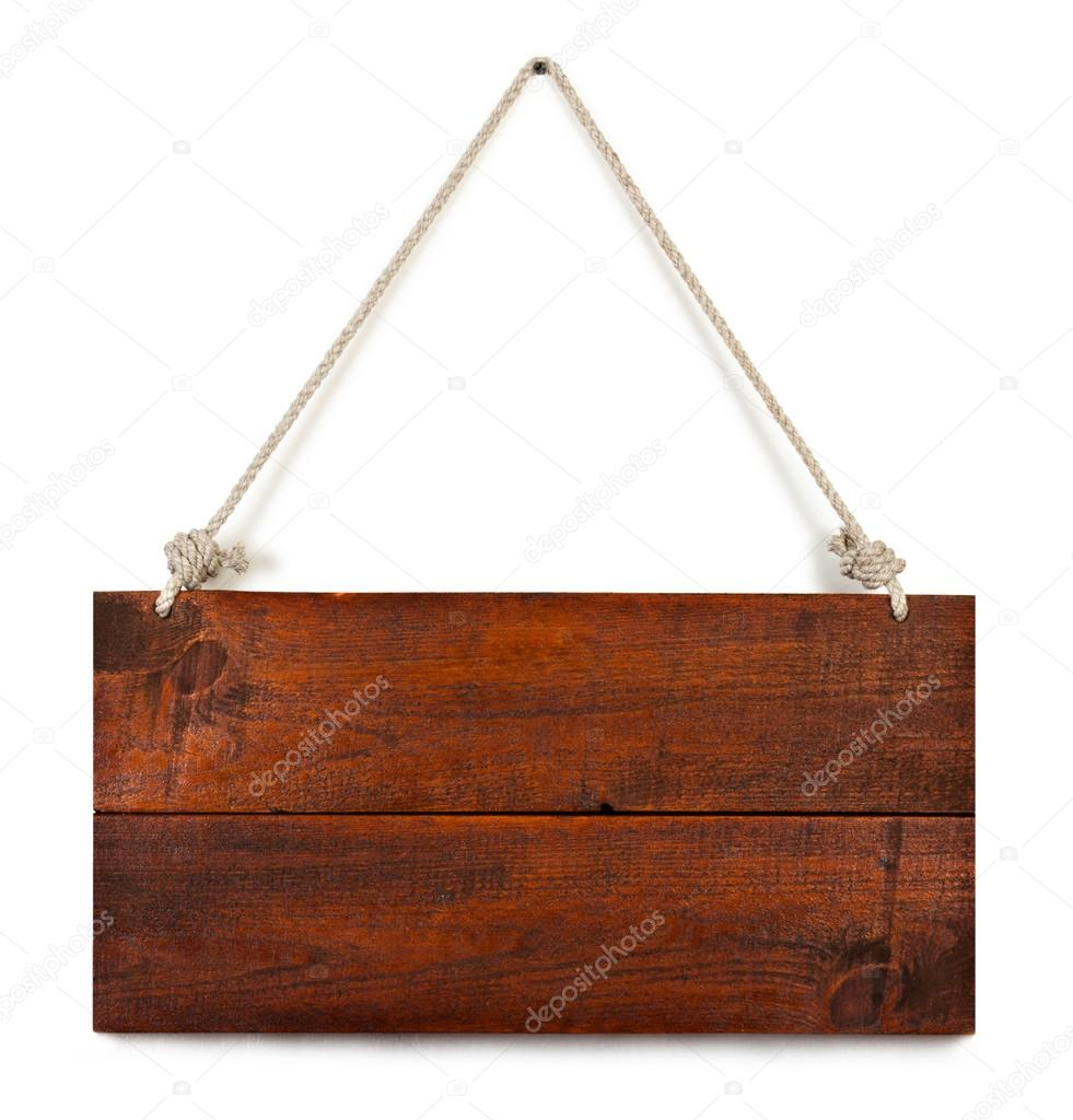 Blank wooden sign hanging on a rope. isolated on white. with clipping path.