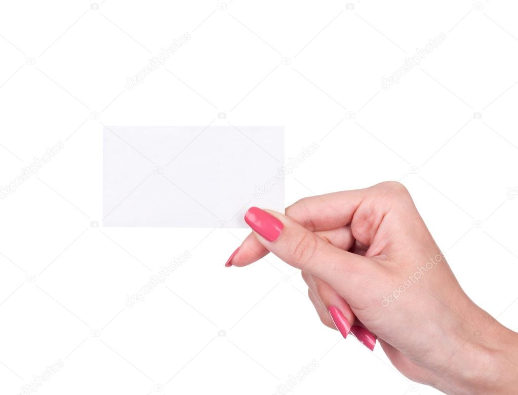 Female hand holding a blank business card — Stock Photo © urfingus ...